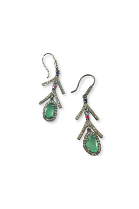 Rhodium Plated Silver Emerald Slice Drop Earrings