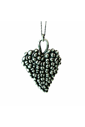 Large Gothic Oxidized Sterling Silver Heart Pendant