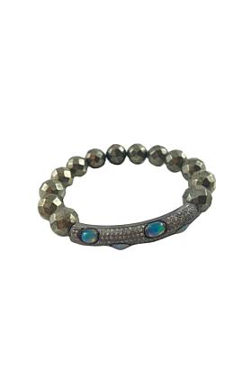 Rhodium Plated Silver Pave & Opal Bar Beaded Bracelet