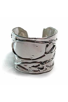 Large Byzantine Shiny Silver Cuff