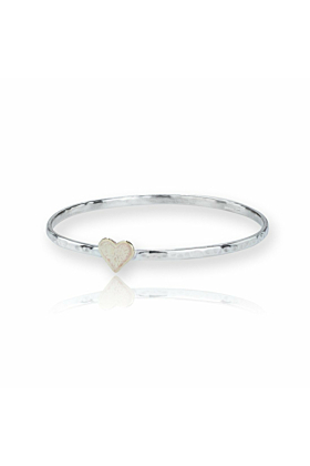 Sterling Silver & Gold Heart Bangle