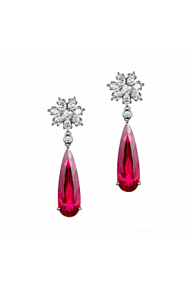 Pear Cut Red Tourmaline Snow Flake Earrings