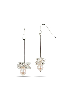 Sterling Silver Pearl In A Nest Earrings
