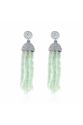 Rhodium Plated Sterling Silver Aqua Tassel Earrings