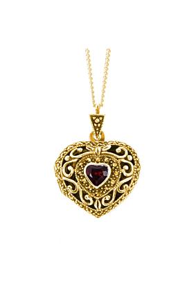 Yellow Gold Vermeil Garnet Vintage Heart Locket