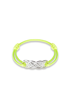 Silver Infinity Ibiza Bracelet With Yellow Neon Ribbon | INFINITY by Victoria