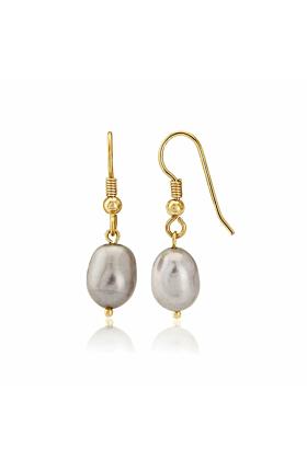 9kt Gold & Large Grey Pearl Drop Earrings