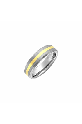 Titanium Flat Court Shape Wedding Ring with 9kt Yellow Gold Inlay