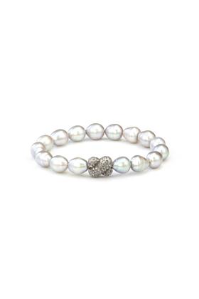 Sterling Silver Light Grey Freshwater Pearl Diamond X Small Bracelet