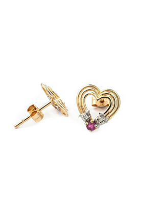 9kt Yellow Gold Heart Shaped Pink Ruby Earrings