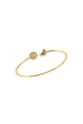 Yellow Gold Plated Moon Phases Cuff