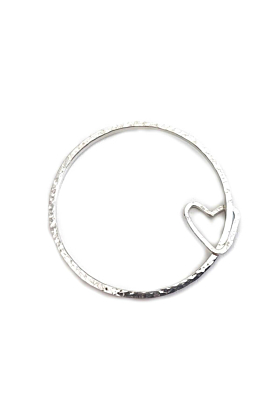 Silver Simple Bangle With Open Heart Charm
