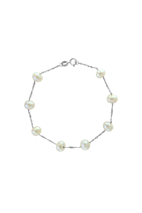 Tin Cup Pearl Bracelet White Gold
