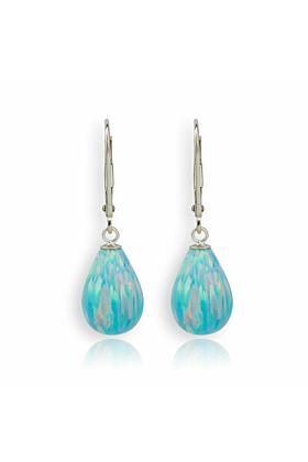 9kt Gold & Large Green Opal Teardrop Earrings