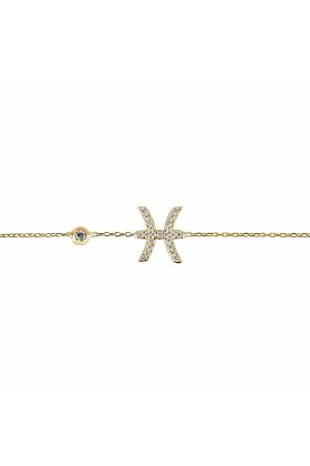 Pisces Zodiac Bracelet Gold