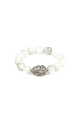 Sterling Silver Moonstone Beads Diamond Egg Bracelet