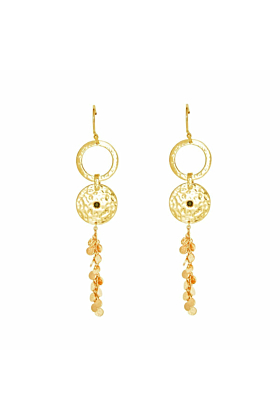Gold & Black Spinel Grace Long Disc Earrings