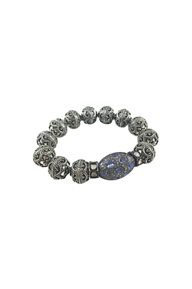 Rhodium Plated Silver Filigree & Tanzanite Balinese Beaded Bracelet