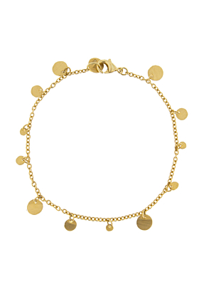 18kt Yellow Gold Multi-Coin Chain Bracelet