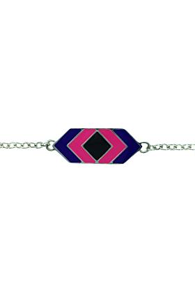 Bili Silver Rectangle Enamel Bracelet