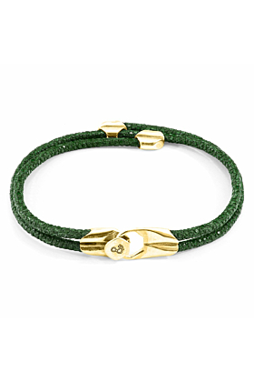 Racing Green Conway 9ct Yellow Gold and Stingray Leather Bracelet
