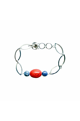 Ingrid Sterling Coral Bangle