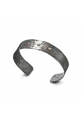 Sterling Silver Demi-Phaedra Cuff With 3 Diamonds