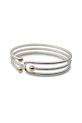 Silver & 9kt Yellow Gold Bead Coil Bangle