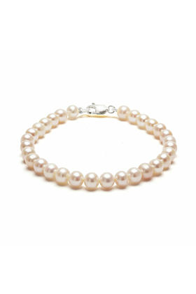 Sterling Silver Classic White Pearl Bracelet