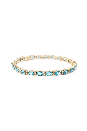 9kt Yellow Gold Oval Blue Topaz Line Bracelet With Diamonds