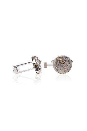 Silver Plated Brass Vintage Round Watch Movement Cufflinks