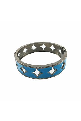 Rhodium Plated Silver Enamel Starburst Cut-Out Bangle