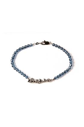 Ruthenium Chattering Skull Stack Swarovski Bracelet