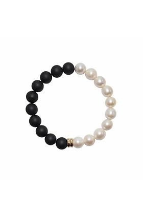 14kt Gold Orbis Pearl & Onyx Bracelet