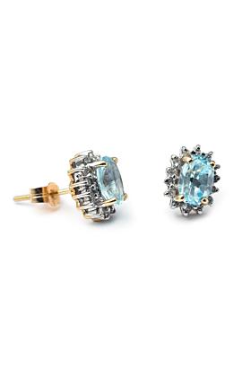 9kt Yellow Gold Oval Swiss Blue Topaz Stud Cluster Earrings