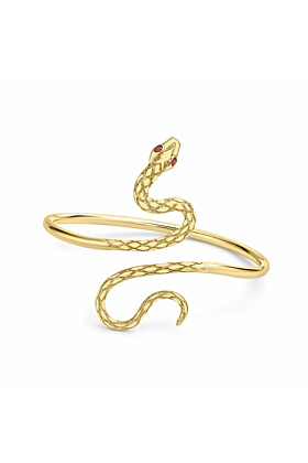 Kew Serpent Yellow Gold Ruby Bangle