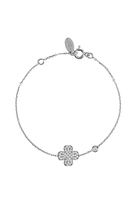 Rhodium Plated Lucky Four Leaf Clover Bracelet