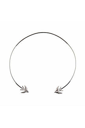 Silver Swallow torc necklace