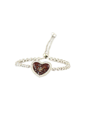Rhodium Plated Sterling Silver Heart of Love Bracelet