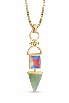 Splashy Flashy Prehnite Diamond Pendant Necklace