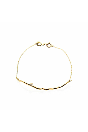 Gold & Diamond Arabesque Bar Bracelet | Ileava Jewelry