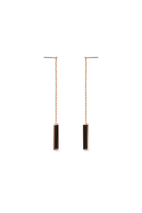 18kt Rose Gold Vermeil Urban Chain Earrings With Black Onyx