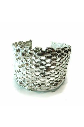 Honeycomb Shiny Silver Cuff