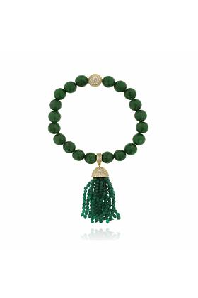 Rhodium Plated Jade Tassel Bracelet