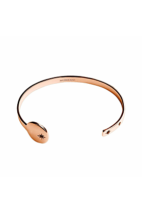 Rose Gold & Black Spinel Destiny Open Cuff Bangle