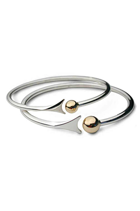 Silver & 9kt Yellow Gold Bead & Fishtail Bangles