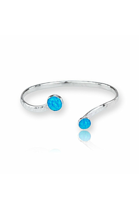 Sterling Silver Blue Opal Torq Bangle