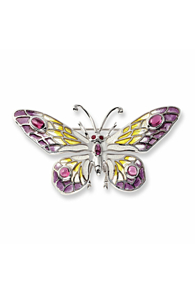 Silver Butterfly Ruby and Rhodolite Brooch
