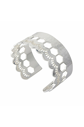 Sterling Silver Lace Edge Open Cuff Bangle