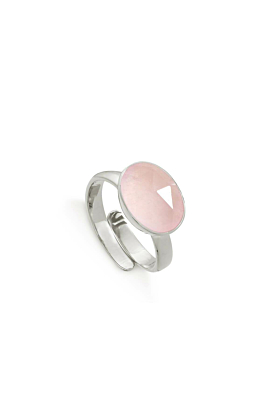 Atomic Maxi Rose Quartz Sterling Silver Adjustable Ring